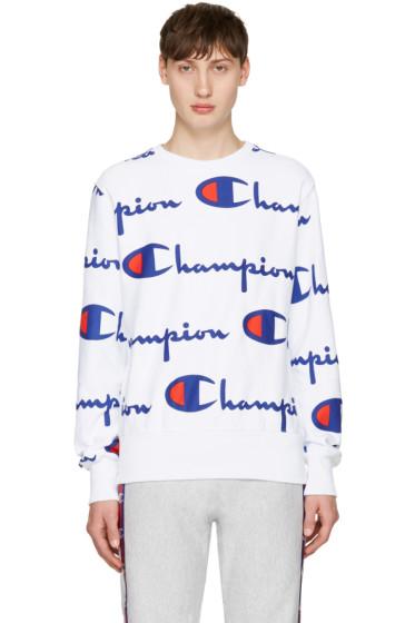 Champion Reverse Weave - White All Over Logo Pullover