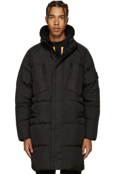 Stone Island - Black Down Long Crinkle Coat