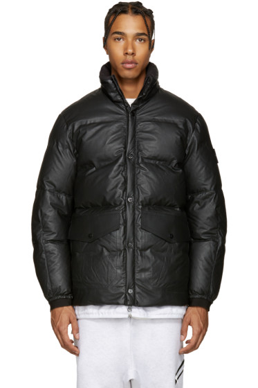 Stone Island - Black Down Leather Jacket