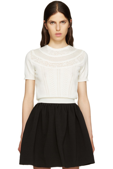 Miu Miu - Ivory Pointelle Sweater