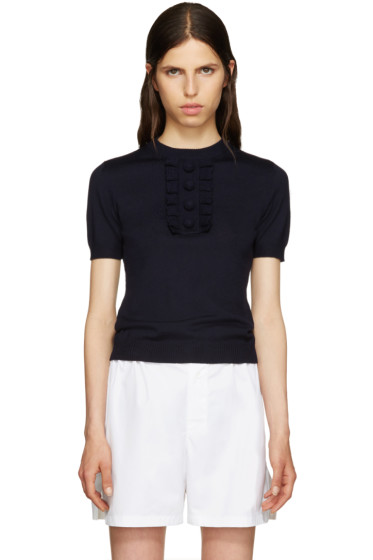 Miu Miu - Navy Ruffled Trim Sweater