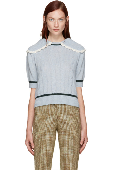 Miu Miu - Blue Oversized Collar Sweater