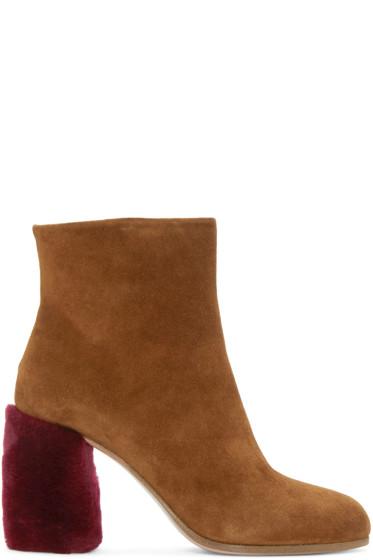 Miu Miu - Tan Suede & Shearling Boots