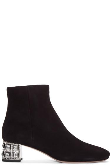 Miu Miu - Black Crystal Heel Boots