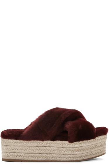 Miu Miu - Burgundy Shearling Espadrille Sandals