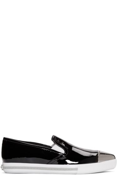 Miu Miu - Black Patent Cap Toe Slip-On Sneakers