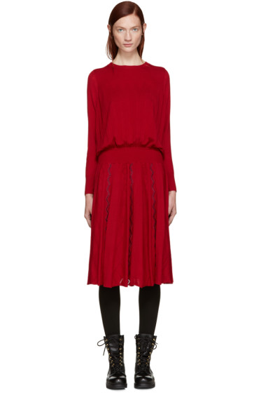 Harikae  - Red Knit Pleated Dress