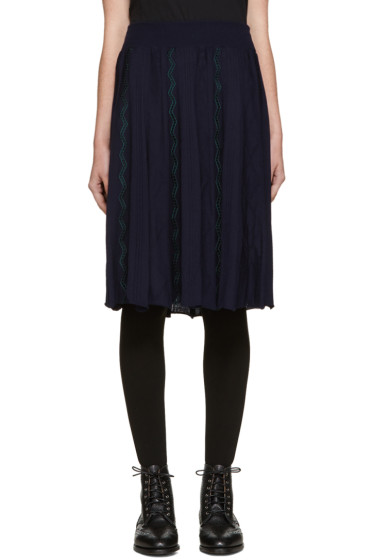 Harikae  - Navy Knit Pleated Skirt