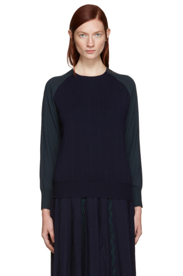 Harikae  - Navy & Green Wool Pullover