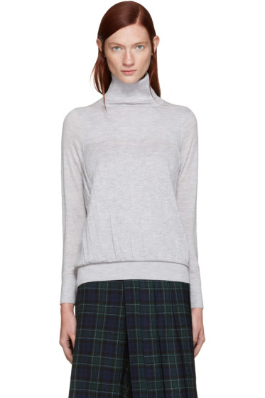 Harikae  - Grey Wool Pleated Turtleneck