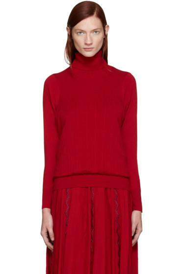 Harikae  - Red Wool Pleated Turtleneck