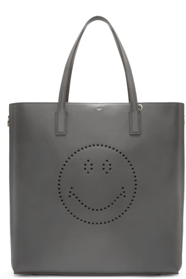 Anya Hindmarch - Grey Smiley Ebury Tote