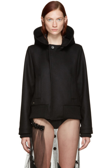 Bless - Black Wool Hooded Jacket