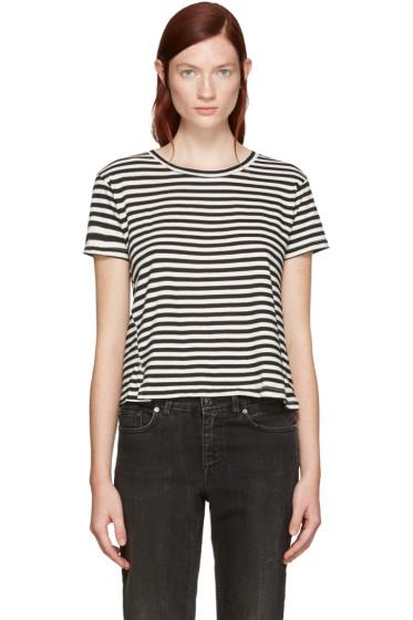 Amo - Black Striped Twist Cut-Out T-Shirt