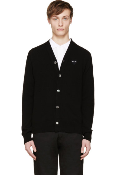Comme des Garçons Play - Black Wool Heart Patch Cardigan