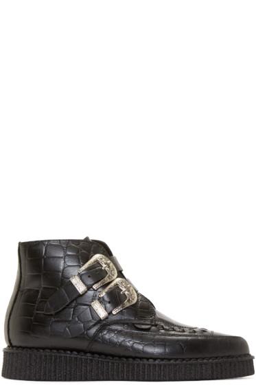 Underground - Black Croc-Embossed Bowie Creeper Boots