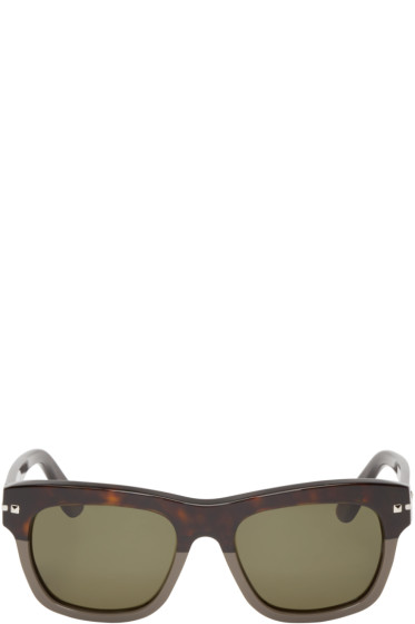 Valentino - Brown & Grey Studded Sunglasses