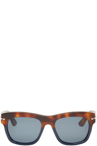 Valentino - Brown & Navy Rockstud Sunglasses