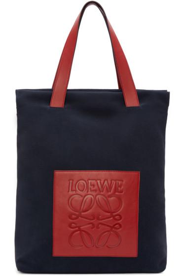 Loewe - Navy Suede Colorblock Tote