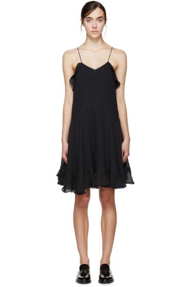 Chloé - Navy Linen Ruffled Dress