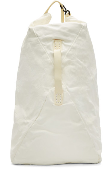 Boris Bidjan Saberi - Ivory Washed Leather Backpack