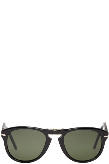 Persol - Black Folding Pilot Sunglasses