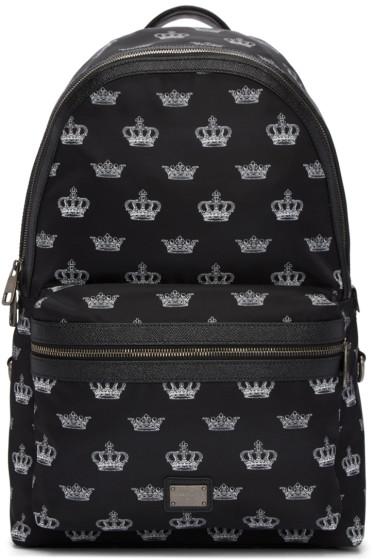 Dolce & Gabbana - Black Crown Print Backpack