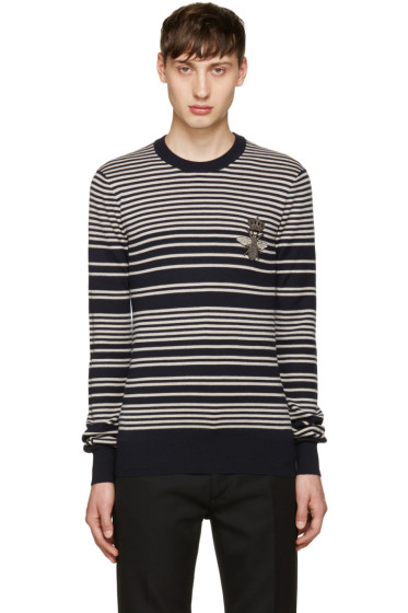 Dolce & Gabbana - Navy & Grey Embroidered Sweater