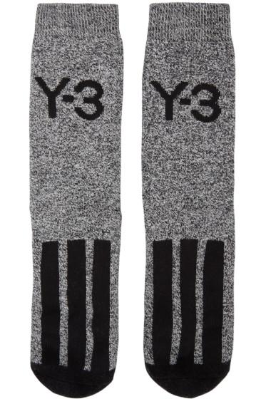Y-3 - White & Black Logo Socks