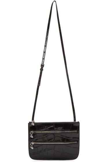 Alexander McQueen - Black Croc-Embossed Zip Bag