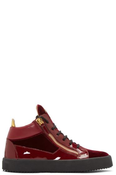Giuseppe Zanotti - Red Velvet London High-Top Sneakers