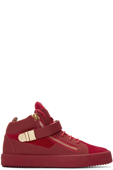 Giuseppe Zanotti - Red Suede London High-Top Sneakers