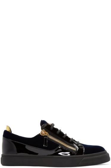 Giuseppe Zanotti - Navy Velvet London Sneakers
