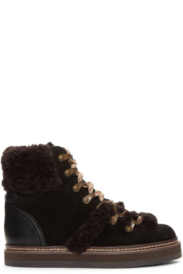 See by Chloé - Black Lace-Up Ski Boots