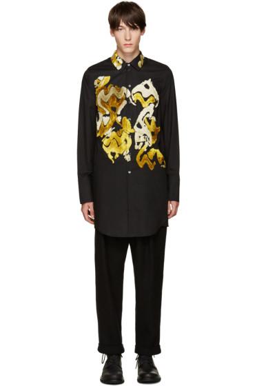 Ann Demeulemeester - Black Flocked Velvet Shirt