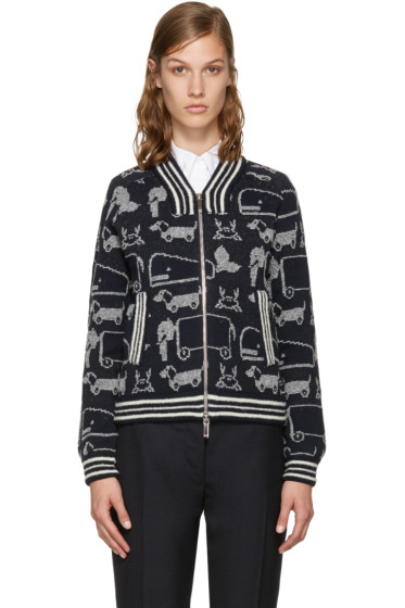 Thom Browne - Navy Animal Bomber Cardigan