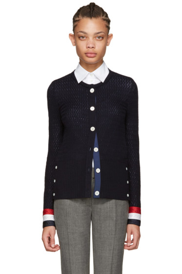 Thom Browne - Navy Wool Cardigan
