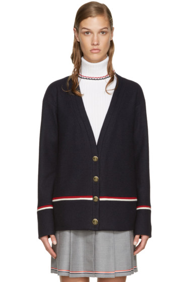Thom Browne - Navy Hairline Stripe Cardigan