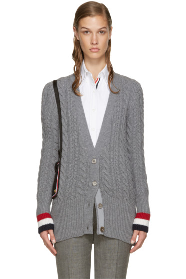 Thom Browne - Grey Shoulder Bag Cardigan