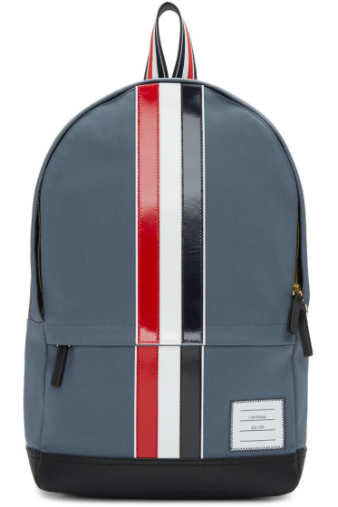 Thom Browne - Grey & Tricolor Striped Backpack