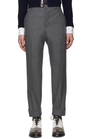 Thom Browne - Grey Uncuffed Trousers