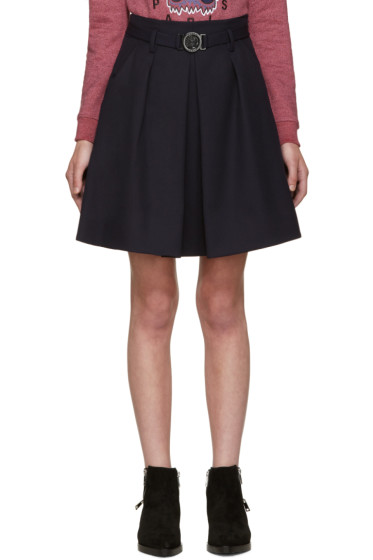 Kenzo - Blue Wool Belted Skirt