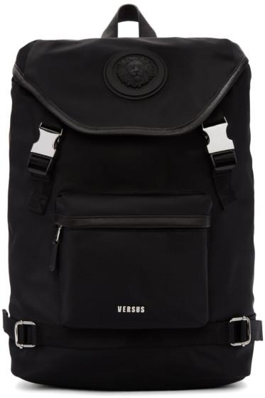 Versus - Black Nylon Buckled Backpack