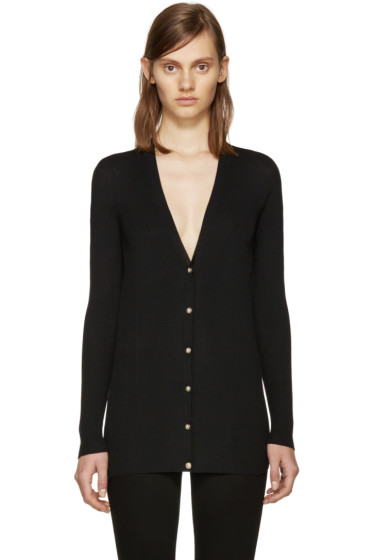 Versace - Black Wool Ribbed Cardigan