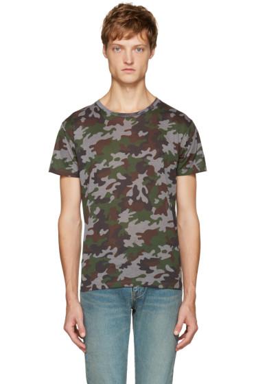 Saint Laurent - Green Camouflage T-Shirt