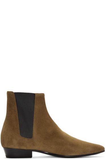 Saint Laurent - Tan Suede Devon Boots