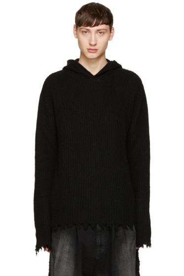 MSGM - Black Unfinished Hem Hoodie
