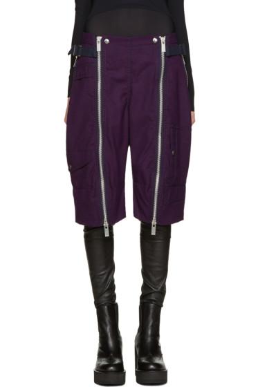 Sacai - Purple Double Zip Shorts