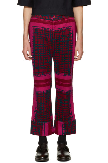 Sacai - Red Multiprint Trousers