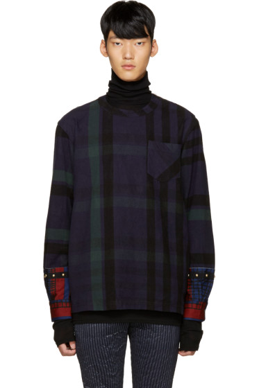 Sacai - Navy Check Flannel Pullover